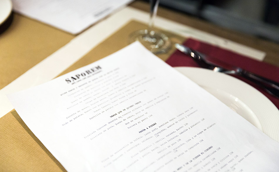 carta restaurante saporem