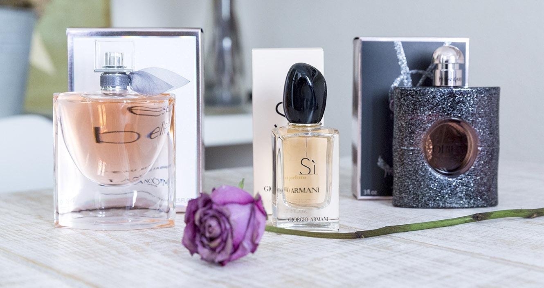 perfumes femeninos, Black Opium Nuit Blanche de Yves Saint Laurent; La Vie est Belle de Lancôme; y Sì de Giorgio Armani,