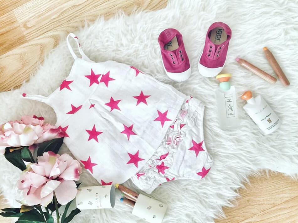 conjunto para bebé niña de la marca Aden and Anais