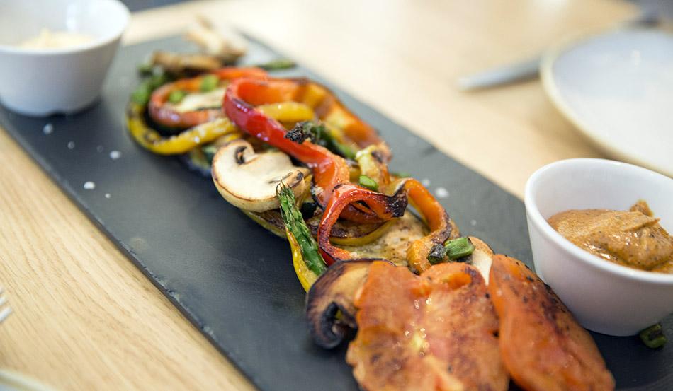 verduras asadas. la vaca y la huerta. restaurante de Madrid