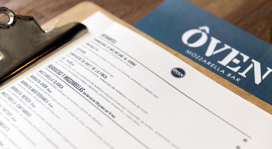 carta restaurante Oven