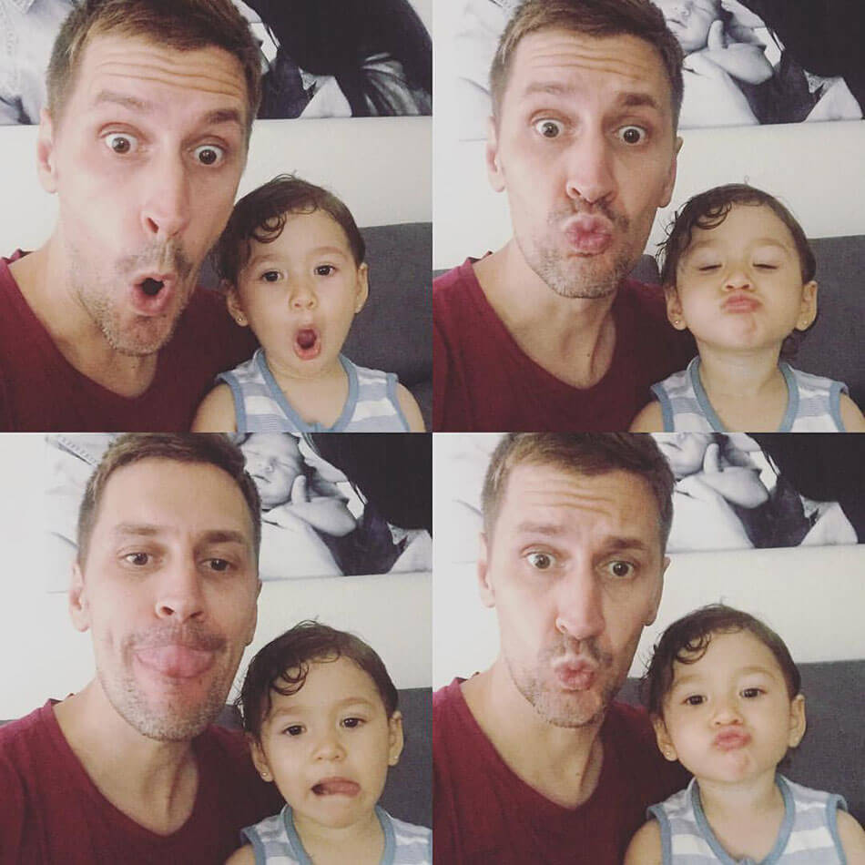 padre e hija, selfies