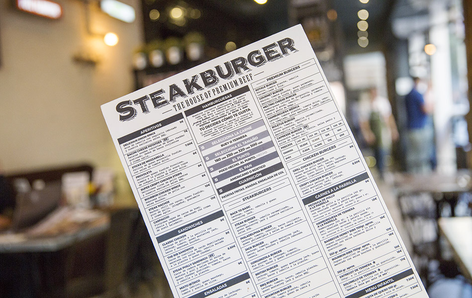 restaurante Steakburger, carta