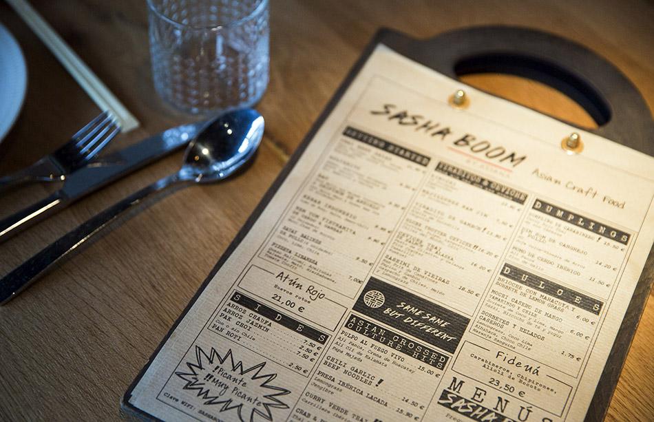 restaurante Sasha Boom, carta