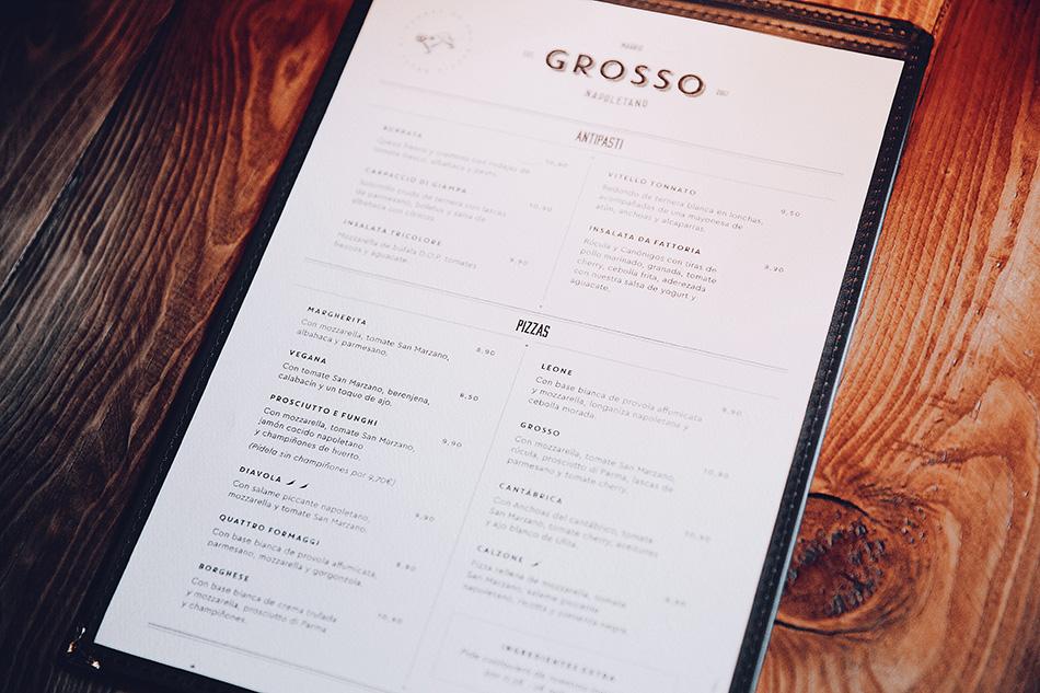 carta del restaurante grosso napoletano