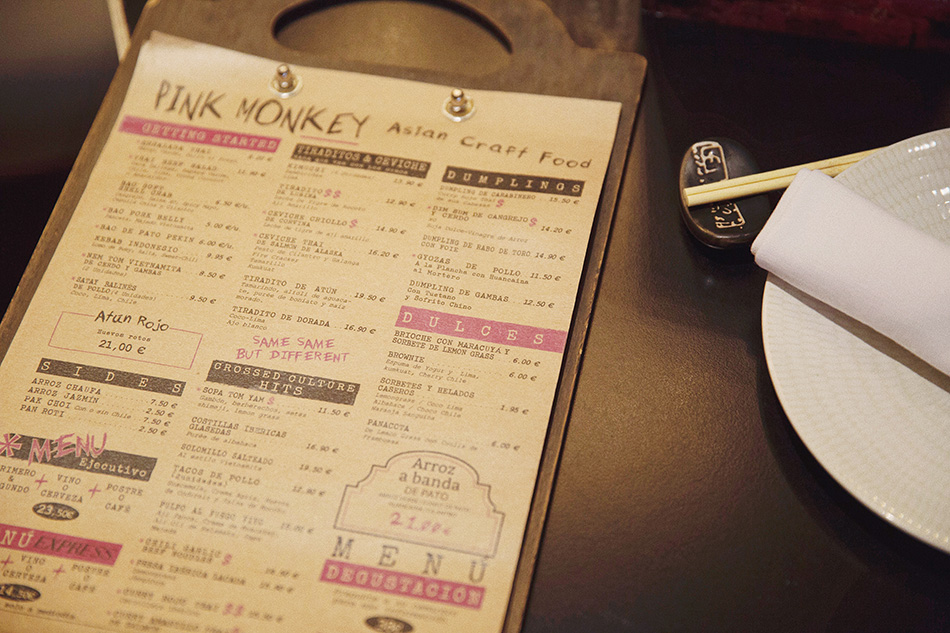 carta restaurante de cocina fusión pink monkey