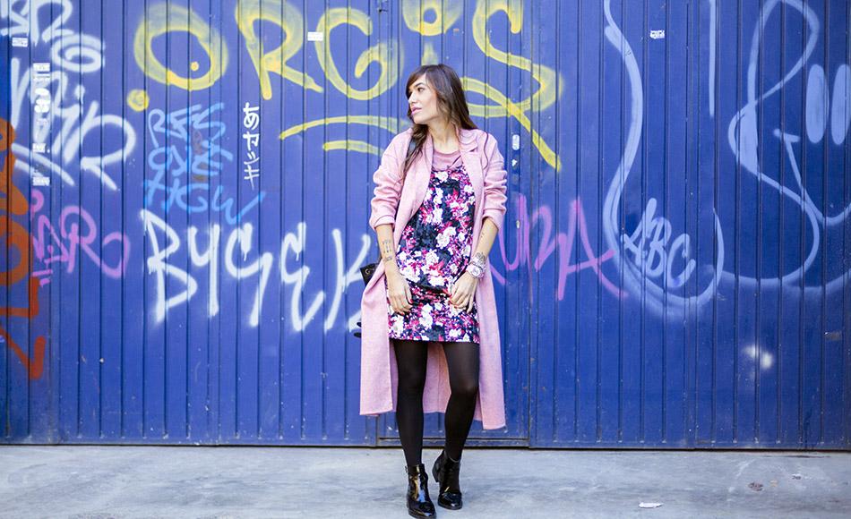 Vestido largo rosa flores zara